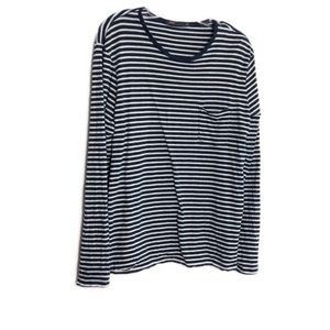 Vince Striped Long Sleeve Pocket Tee Blue White XL
